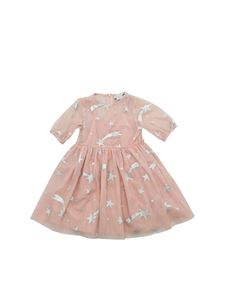 Stella McCartney Kids - Abito in tulle rosa con stelle stampate