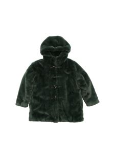 Stella McCartney Kids - Hooded eco fur in green