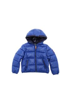 Save the duck - Blue down jacket with red patch