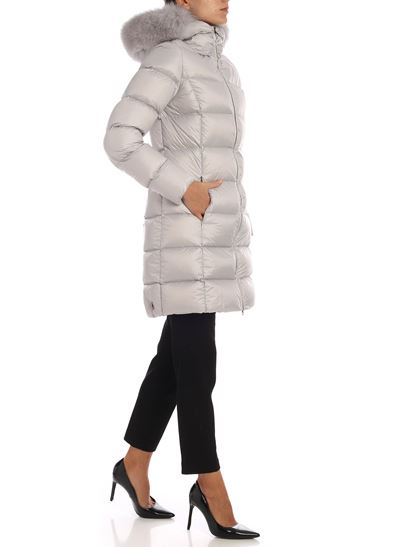 Colmar - Place pearl grey down jacket with fur