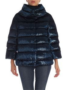 Herno - Lurex effect down jacket in teal blue color