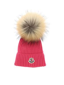 Moncler Jr - Pom pom hat in fuchsia