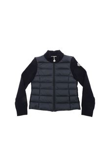Moncler Jr - Blue cardigan with padded insert