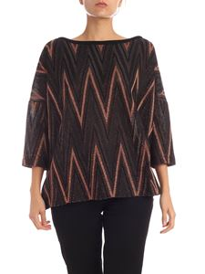 M Missoni - Boxy shirt in black and lamè bronze color