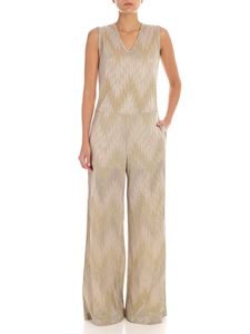 M Missoni - Jacquard palazzo jumpsuit in dove grey color with lamè details