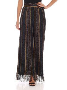 M Missoni - Palazzo trousers in black green and beige