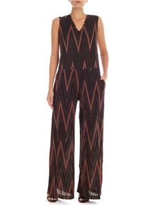 M Missoni - Black and bronze lamè jumpsuit with chevron pattern