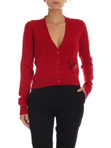 N° 21 - Red cashmere crop cardigan with embroidery