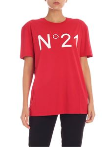 N° 21 - Red T-shirt with white logo print