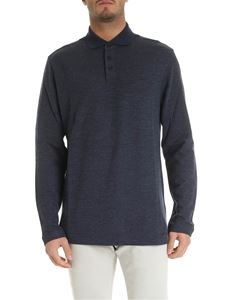 Z Zegna - Long sleeve polo in melange blue