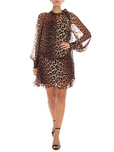 N° 21 - Brown and black animalier silk dress