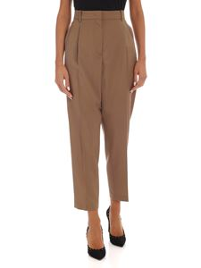 N° 21 - Sand-colored virgin wool trousers with pleates