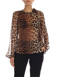 N° 21 - Blouse in brown and black animalier silk