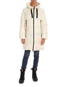 ADD - Down jacket in ivory color with drawstring on the hood