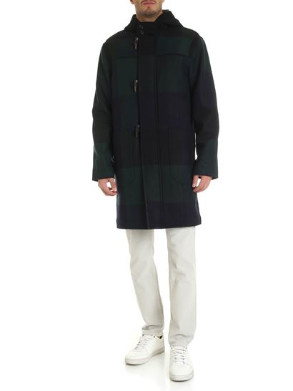 PS by Paul Smith - Cappotto blu verde e nero a quadri