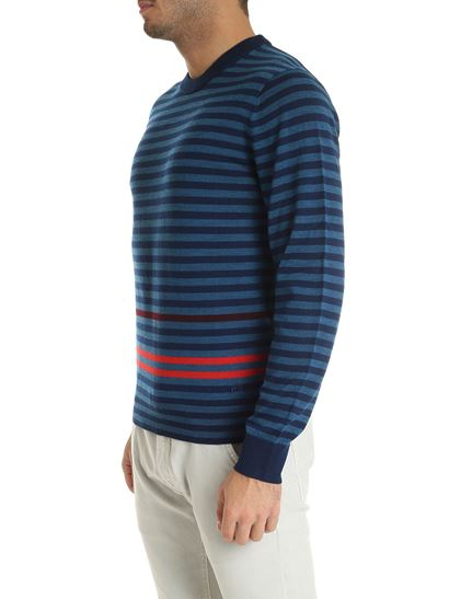 PS by Paul Smith - Pullover girocollo a righe blu e turchese