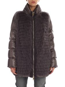 Herno - Grey down jacket with tone-on-tone fur detail