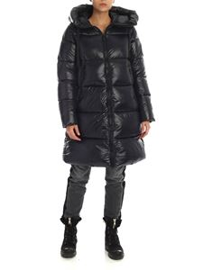 Save the duck - Black down jacket with maxi patch logo