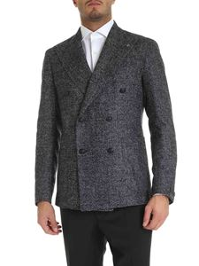 Tagliatore - Blue and white jacket with logo brooch