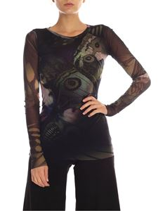 Fuzzi - Butterfly printed tulle t-shirt in black