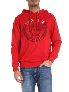 Versace - Red hoodie with multicolor Medusa logo