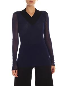 Fuzzi - Blue tulle t-shirt with knitted neckline