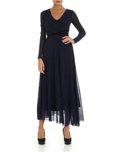 Fuzzi - Long dress in blue with velvet inserts