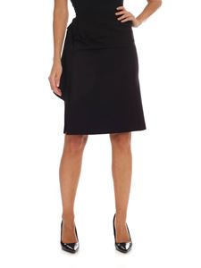 Fuzzi - Black knee-length skirt with drapery