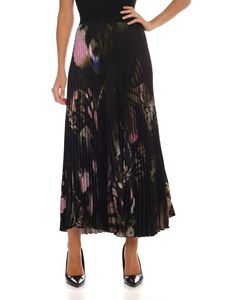 Fuzzi - Black pleated trousers with butterflies print