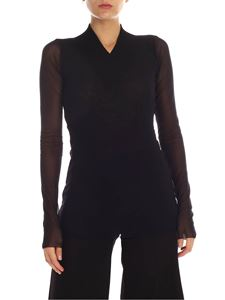 Fuzzi - Black tulle T-shirt with knitted neckline