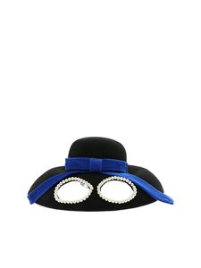 Vivetta - Black hat with glasses and blue ribbon