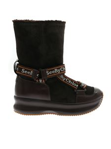See by Chloé - Branded straps ankle boots in brown