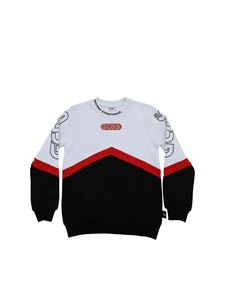 GCDS - Logo sweatshirt in white, black and red