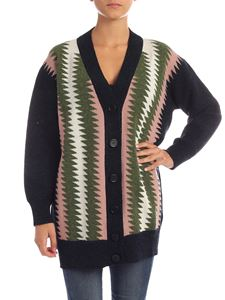 M Missoni - Geometric striped cardigan in blue