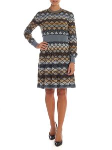 M Missoni - Knit dress in blue and mustard