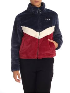 Fila - Blue and burgundy eco-fur coat