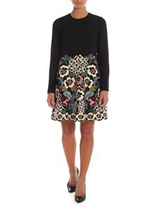 Red Valentino - Black dress with floral embroidery