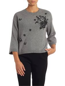 Red Valentino - Grey pullover with floral embroidery