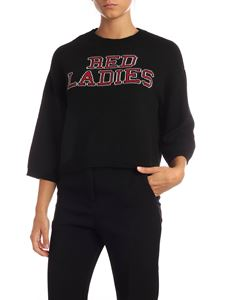 Red Valentino - Black pullover with Red Ladies embroidery