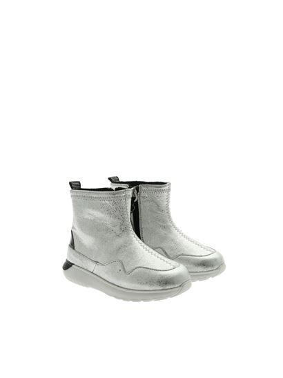 Hogan Junior Fall Winter 19/20 j371 ankle boots in silver ...