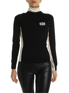 Elisabetta Franchi - Turtleneck in black and nude color with logo
