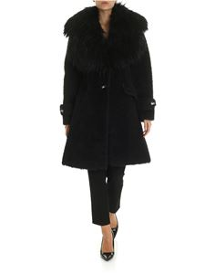 Elisabetta Franchi - Black single-breasted eco-fur with logo details