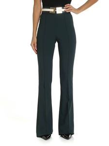 Elisabetta Franchi - Dark green flared trousers with belt