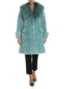 Elisabetta Franchi - Blue single-breasted eco-fur with logo details
