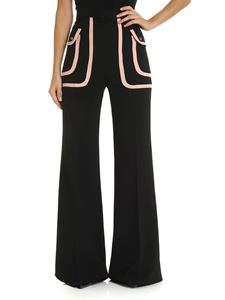Elisabetta Franchi - Black palazzo trousers with powder pink details