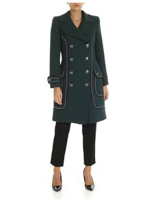 Elisabetta Franchi - Dark green coat with contrasting trim