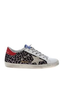 Golden Goose Deluxe Brand - Superstar white sneakers with animal print inserts