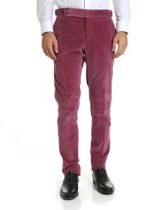 PT01 - Purple colored corduroy trousers with straps