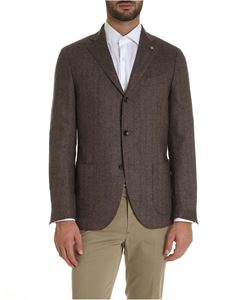 Lardini - Single-breasted jacket in shades of brown and blue