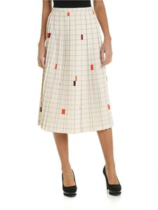 Fay - Ivory colored skirt with checkered pattern